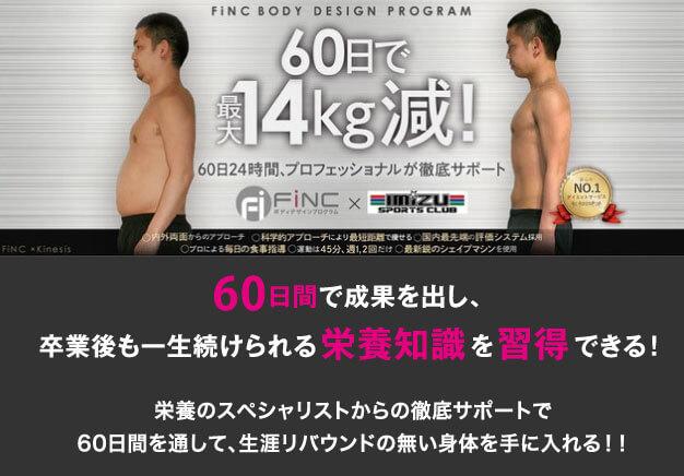 Finc(フィンク) ボディデザインプログラムで生涯リバウンドの無い身体を手に入れませんか?